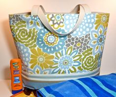 Extra Large Floral Beach Bag/Tote by nangatesdesigns on Etsy