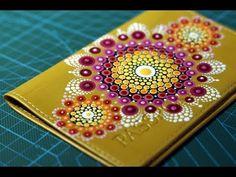 Точечная роспись (point-to-point) техника дот арт (dot art). Роспись обложки для паспорта. Часть 2. - YouTube