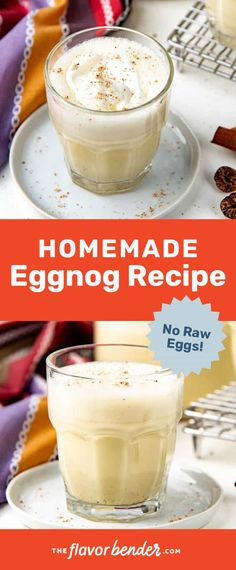 Creamy, frothy, and thick homemade eggnog that everyone will love! No raw eggs, simple to make, and much better than store-bought! Kid friendly substitutes included. #TheFlavorBender #ChristmasRecipes #EggNog #NoRawEggs #HolidayRecipes Homemade Eggnog, Allrecipes, Holiday Recipes, Eggs, Egg, Egg As Food