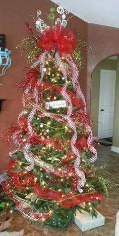 Deco mesh Christmas tree!