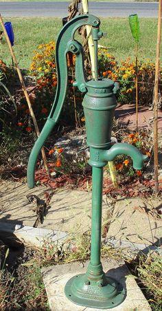 rustic well pump | Well Water Pump Cast Iron Cistern Pitcher Windmill Garden Vintage ...