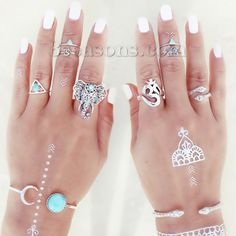 """$2.30 for 8 rings; Wholesale - New Fashion Bohemian Unadjustable Knuckle Band Midi Rings Antique Silver Yoga OM /Aum Elephant Sanke Pattern With Green Blue Beads 18.1mm( 6/8"""")(US Size 7.75) - 13.7mm( 4/8"""")(US Size 2.75), 1 Set(8 PCs/Set)"""