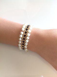 Pearl bracelet,white bracelet,beaded bracelet,Swarovski beaded bracelet,jewelry for women,birthday gift,gifts for girls,women's jewelry by PassionByMaya on Etsy