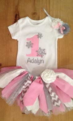 Winter Onederland Scrap Fabric Tutu Outfit by ScrapHappyTutus, $40.00