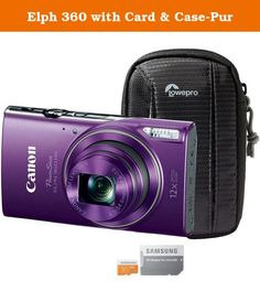 Elph 360 with Card & Case-Pur. The Canon 1081C001-3-KIT includes the PowerShot ELPH 190 IS digital camera, Tahoe 25 II compact camera pouch and the 16GB MicroSD EVO Memory Card. The PowerShot ELPH 190 IS is a beautiful, easy-to-use camera packed with features that make photography fun and simple for users of every experience and background. Equipped with built in WIFI for easy photo sharing, the PowerShot ELPH 190 takes gorgeous and lifelike photographs and video thanks to its 20.0…