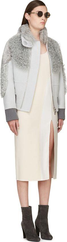 Marc Jacobs Grey Wool & Fur Bomber Jacket