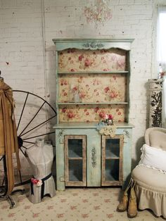Vintage Painted Cottage Shabby Aqua Romantic by paintedcottages. $495.00, via Etsy.  Furniture Redo.  I would use a different background in the upper cabinet I think, but this is nice - love the room décor.