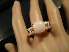 VINTAGE ESTATE Sterling Silver RING Size 11 Rose Quartz Pink Milk Glass Opal Jewelry on Etsy, $45.00