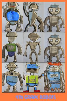 Draw and Paint a robot using tints and shades. Based on John Post's robot art lesson.