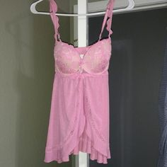 Victoria Secret Padded Lingerie Nighty Pink Lace Push Up, open front nighty. Victoria Secret. Brand new. Just removed tags. Victoria's Secret Intimates & Sleepwear Bras