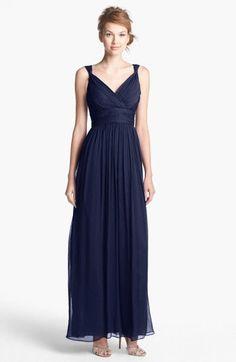 Donna Morgan Amy Full-Length Bridesmaid Maxi Dress Midnight (Navy Blue) Size 8 #DonnaMorgan #Maxi #Formal