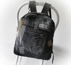 Recycled denim gray backpack, hipster unisex jeans back to school, outdoor rucksack, old jeans patchwork backpack, vintage jeans upcycled
