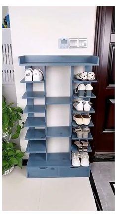 Wooden Shoe Rack Designs, Wooden Shoe Racks, Wooden Shoe Cabinet, Wooden Cabinets, Furniture For Small Spaces, Home Decor Furniture, Furniture Design, Furniture Storage, Diy Furniture Videos