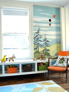 """Toddler bedroom decor, toddler-boys room design, green forest wall painting decorating ideas"""