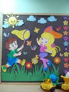 mural painel primavera 39 100 Murais e Paineis da Primavera →【MODELOS】 Kids Crafts, Foam Crafts, Preschool Activities, Paper Crafts, School Board Decoration, Class Decoration, School Decorations, Drawing For Kids, Art For Kids