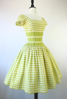 Jerry Parnis 50s Dress Vintage Party Day Full Skirt Tulle Nipped Waist Shelf Bust Posey Plaid in Yellow Blue White Metal Zip 1950s Dresses. $175.00, via Etsy.