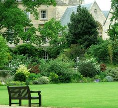 Welcoming English garden in bloom with lawn and bench at Oxford