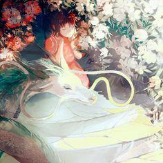 Spirited Away - Studio Ghibli / Hayao Miyazaki Totoro, Studio Ghibli Films, Studio Ghibli Art, Hayao Miyazaki, Illustrations, Illustration Art, Spirited Away Haku, Chihiro Y Haku, Manga Dragon
