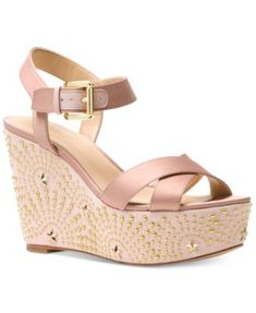 2fb2499ee0ae Michael Kors Sia Wedge Sandals Shoes - Sandals   Flip Flops - Macy s