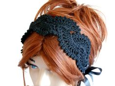 Women Knitted Head Band, Crochet Head Band, Black Hair Band, Neck Band, Knitted Head Band, Hair Wrap, Head Band, Head Cover, Head Shawl by MimosaKnitting on Etsy