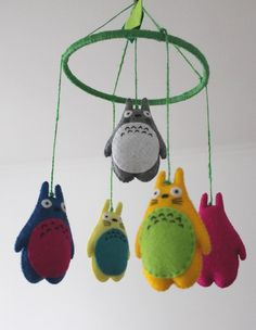 Rainbow Felt Totoro Crib Mobile, My Neighbor Totoro Toy Plushie, Totoro Décor, Totoro toy, Colored Totoro Nursery Décor, Anime decor Mobiles For Kids, Mobile Kids, Totoro, Baby Crib Mobile, Embroidery Thread, Decoration, Wool Felt, Anime, Sewing