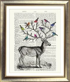 ART PRINT ON ORIGINAL ANTIQUE BOOK PAGE Stag & Birds Dictionary Vintage Upcycled | eBay
