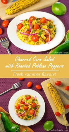 Charred corn salad with roasted poblano peppers Easy Salad Recipes, Top Recipes, Lunch Recipes, Healthy Recipes, Healthy Salads, Roasted Poblano Peppers, Stuffed Poblano Peppers, Fruit And Veg, Fruits And Veggies