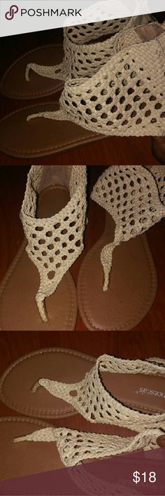 ! Casual Beige Sandals *Open-toed sandals  *Heels are covered *Zipper in the back Shoes Sandals