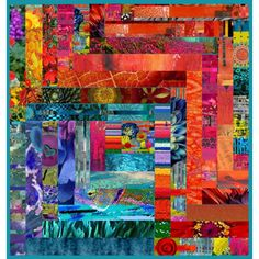 template #6 by shereeburlington on Polyvore featuring art, quilt, red, art expression, teal, quilt template and sheree burlington