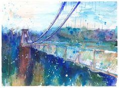 Suspension Bridge Art Print from Original by FishbirdArt on Etsy