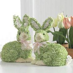 Green hydrangea bunnies. So cute!
