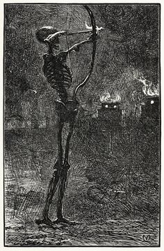 Death dealing arrows. J. E. Millais, from English illustration, 'the sixties' : 1857-70, by Gleeson White, London, 1903.