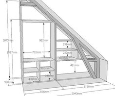 "Dressing under rampant type ""triangle"". Closet Under Stairs, Under Stairs Cupboard, Home Stairs Design, Interior Design Living Room, House Design, Staircase Storage, Loft Storage, Attic Bedroom Designs, Attic Rooms"