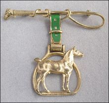Vintage Horse Brooch, Stirrup, Riding Crop Whip with Hound, Green Enamel Strap