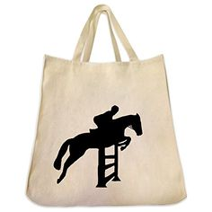 Stadium Jumping Horse Tote Bag Series Extra Large Eco Friendly Reusable Cotton Canvas Tote Bag ** Read more info by clicking the link on the image. #Handmadehandbags