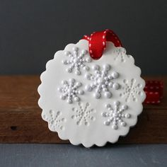 SET of 3 White Snowflake Christmas Ornament by CherryRedToppers