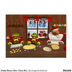 Dinky Bears: Mrs. Claus Kitchen Card