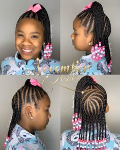 Braids for Kids - 100 Back to School Braided Hairstyles for Kids in 2020 # Braids africaines enfants Little Girl Braid Styles, Kid Braid Styles, Little Girl Braids, Black Girl Braids, Braids For Black Hair, Hair Styles, Kids Braids With Beads, Braids For Kids, Girls Braids