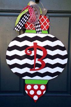 Christmas Ornament Wooden Door Hanger by SweetSophieJacks on Etsy