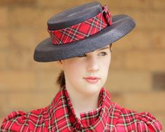 Navy parisisal hat with cotton Stewart tartan band and bow.