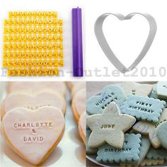 Alphabet Number Letter Cookies Biscuit Heart Cutter Stamp Embosser Cake Fondant for sale online Fondant Cookies, Sugar Cookies, Cake Fondant, Cupcakes, Fondant Stamping, Alphabet Cookies, Sugar Paste, Cookie Cutters, Cookies