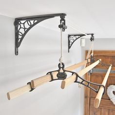 Clothes airer wall support brackets have been specially designed by Cast in Style to support your Kitchen Maid Clothes airer from the wall rather then the ceiling, for situations where mounting the pulleys from the ceiling is not possible Drying Rack Laundry, Clothes Drying Racks, Laundry Room Storage, Laundry Room Design, Clothes Dryer, Clothes Hanger, Wall Mounted Drying Rack, Tiny Laundry Rooms, Kitchen Maid