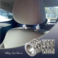 Icy Crystal Car Seat Headrest Collar Charms. Dress up your car interior with sparkling rhinestone car charms by Bling Car Decor.
