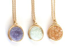 Simple Druzy Pendant Necklace - 10 Colors to Choose From, Gold Filled and Sterling Silver