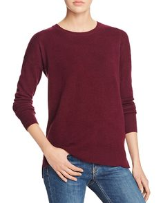 Cashmere High/Low Crewneck Cashmere Sweater