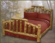 King Size Aspen Mountain Cottage Log Bed