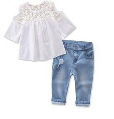 d7f34fc2e814 Girls Fashion shirt+ denim jeans. Summer ClothesGirls ...