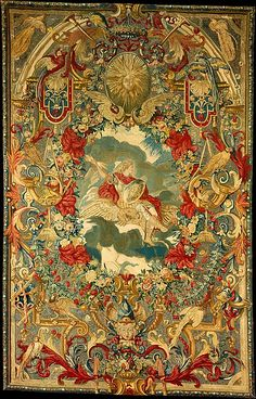 Attributed to Charles Le Brun (French, 1619–1690). Seasons and Elements (Air) (set of four), ca. 1683. The Metropolitan Museum of Art, New York. Rogers Fund, 1946 (46.43.4) | Commissioned by the marquise de Montespan (1641–1707), the hangings were probably embroidered at the Parisian convent of Saint-Joseph-de-la-Providence, which also executed other royal projects, including furnishings for Versailles. #paris