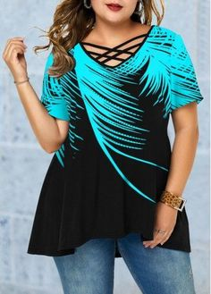 Lattice Front Plus Size Feather Print Tunic Blouse Plus Size Blouses, Plus Size Tops, Designer Plus Size Clothing, Purple Outfits, Fall Outfits, Feather Print, Tunic Blouse, Blue Blouse, Swim Dress