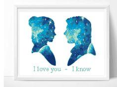 Star Wars cross stitch pattern, Han Solo, Princess Leia, I love you - I know, wedding, quote, movie, counted cross stitch, pdf, digital